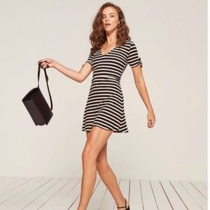 Reformation Black and Ivory Striped Stretch Dress